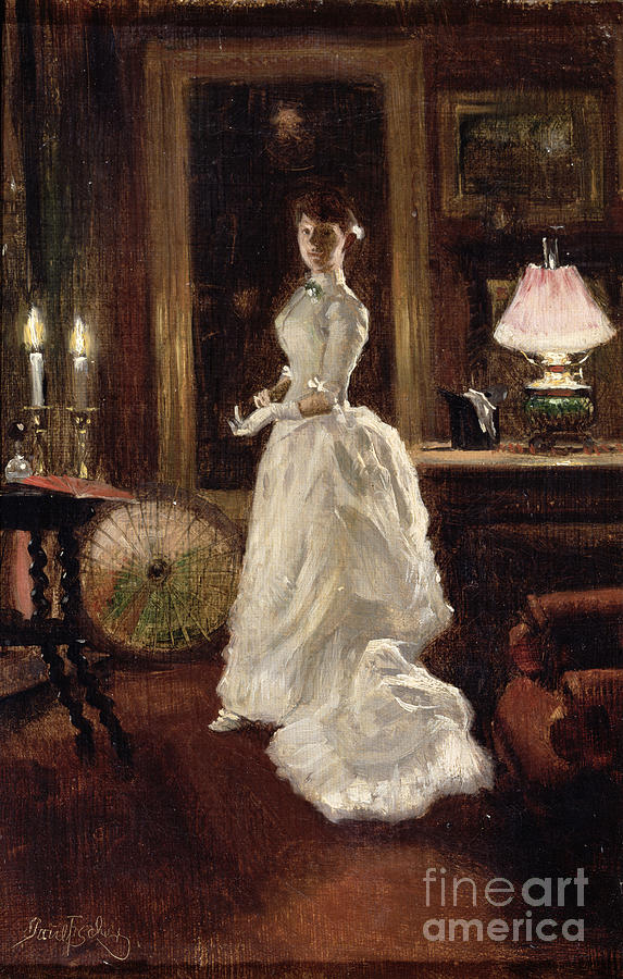 Interior Scene With A Lady In A White Evening Dress Painting By Paul Fischer