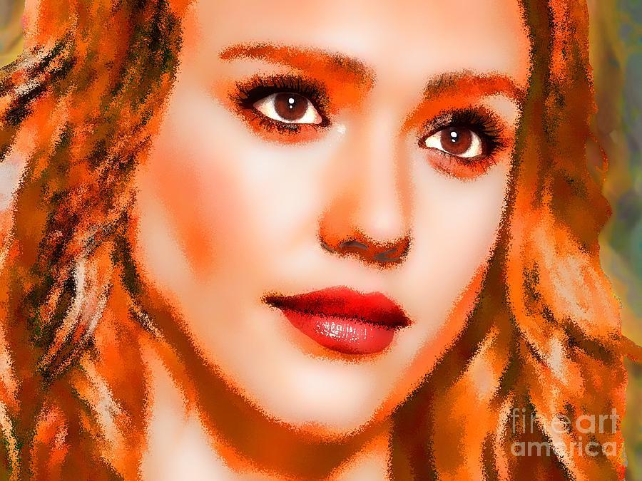 Jessica Alba Digital Art -  Jessica Alba Portrait A by Andre Drauflos