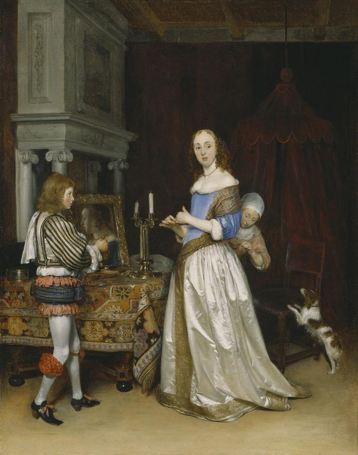 Lady At Her Toilette Painting By Gerard Ter Borch