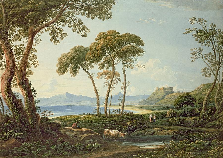 Landscape With Harlech Castle Painting -  Landscape With Harlech Castle by John Varley