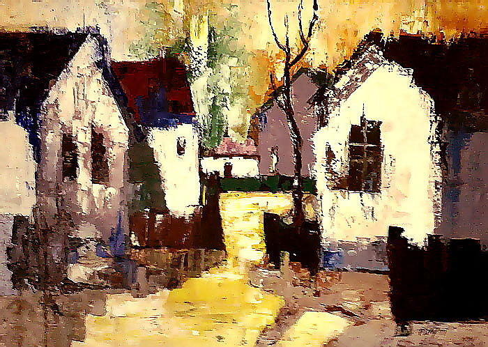 Streetscape Painting -  Late Afternoon by Joe Tiszai