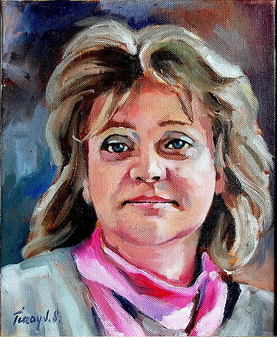 Portrait Painting -  My Wife Judy by Joe Tiszai