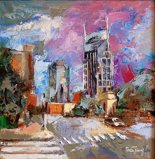 City Painting -  Nashvilletn Batman Tower by Joe Tiszai
