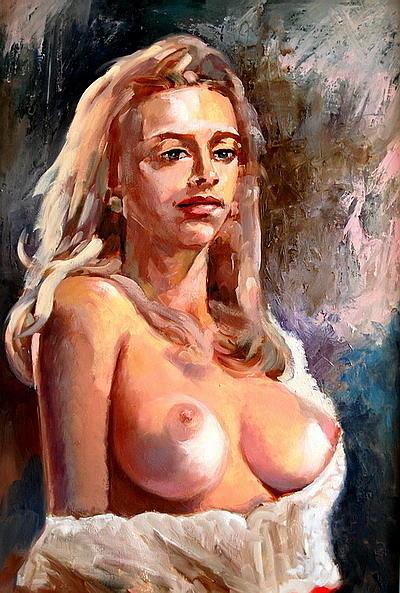 Nude Painting -  Nude Alla Prima by Joe Tiszai