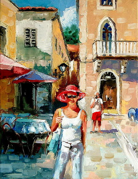 Streetscape Painting -  Old Town Of Kotor Montenegro by Joe Tiszai