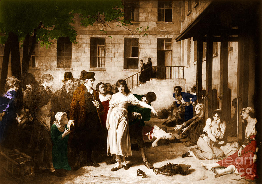 Painting Photograph -  Pitie-salpetriere Hospital, 1795 by Photo Researchers