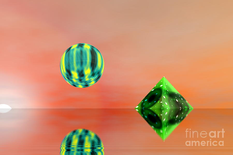 Nature Digital Art -  Planet And Piramid by Odon Czintos