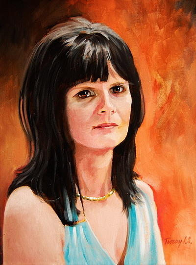 Portrait Painting -  Portrait Of Mrs Biharvary by Joe Tiszai