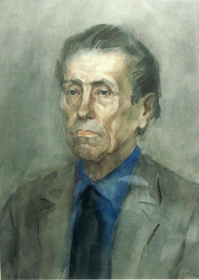Portrait Of Old Man 1983 30x41cm Watercolour On Paper Painting by Edvard Sasun