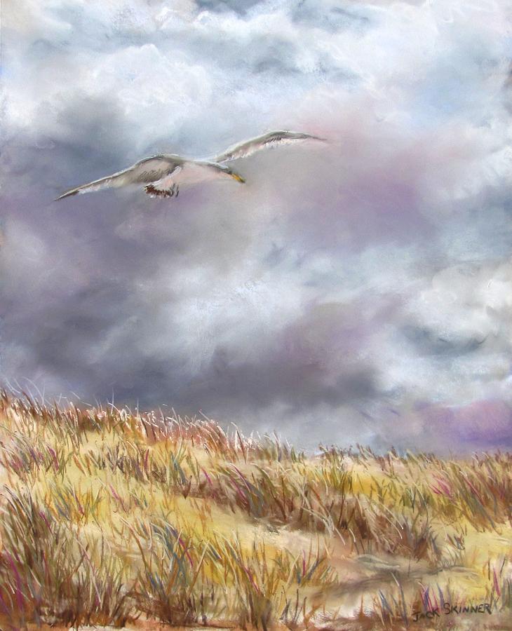 Seagull Painting -  Seagull Flying Over Dunes by Jack Skinner