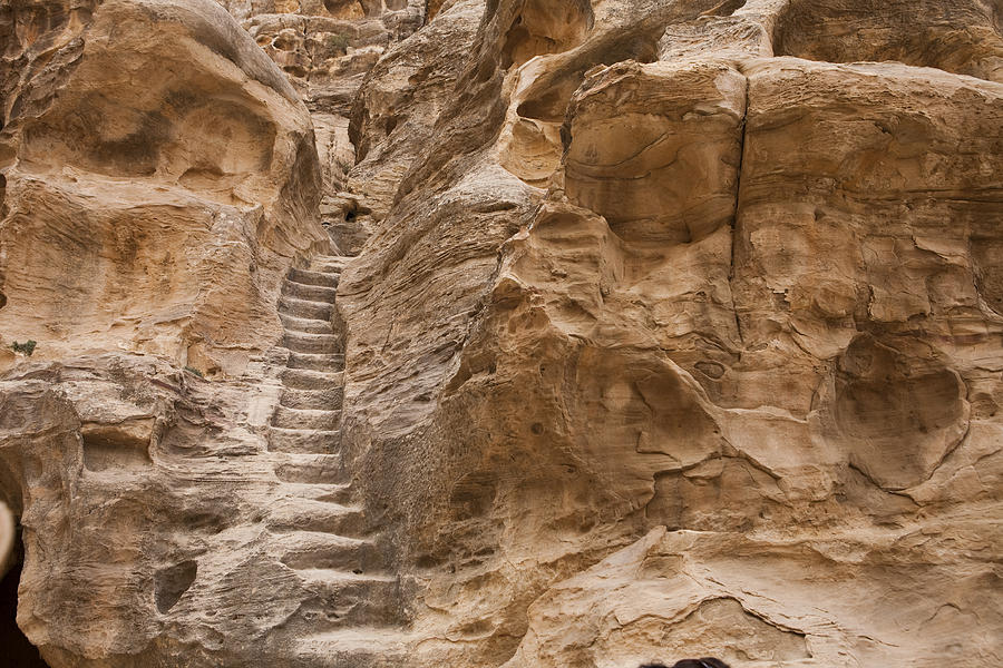Little Petra Photograph -  Stairs Lead Up A Rock Face In Little by Taylor S. Kennedy