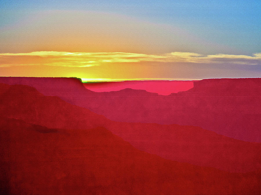 Sunset Painting -   Sunset At Grand Canyon Desert View by Bob and Nadine Johnston