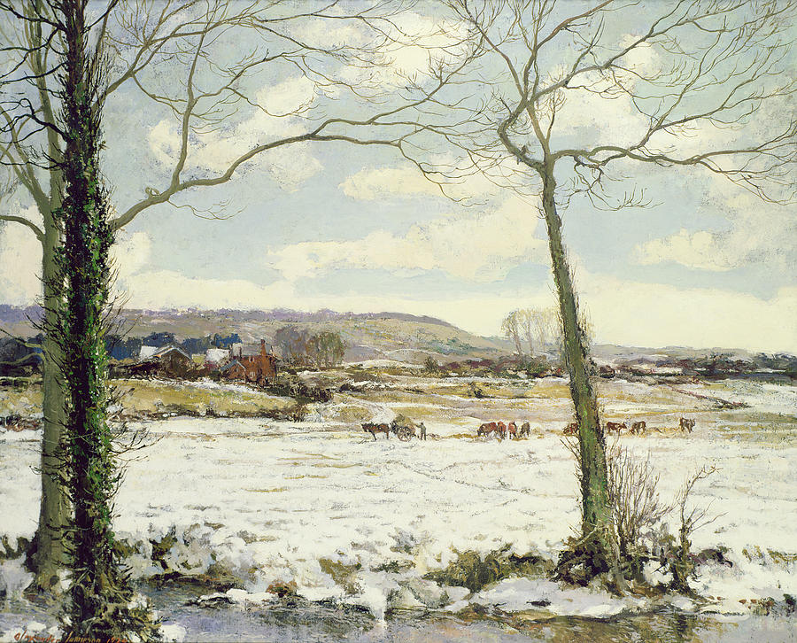 Hay Cart Painting -  The Frozen Meadow by Alexander Jamieson