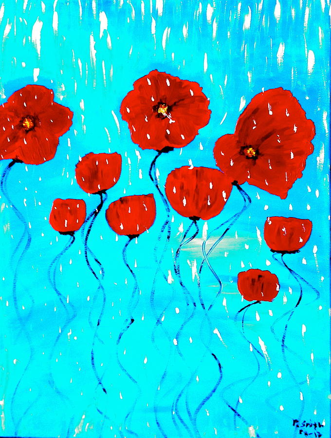 Red Painting -  The Red Poppies Dancing In The Rain by Pretchill Smith