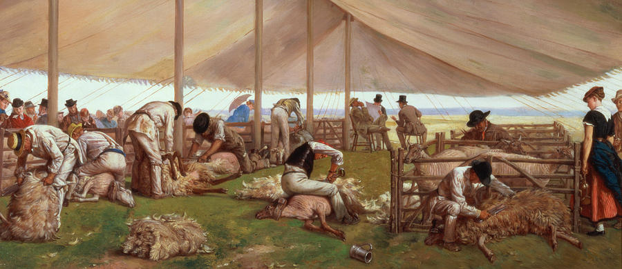 The Painting -  The Sheep Shearing Match by Eyre Crowe