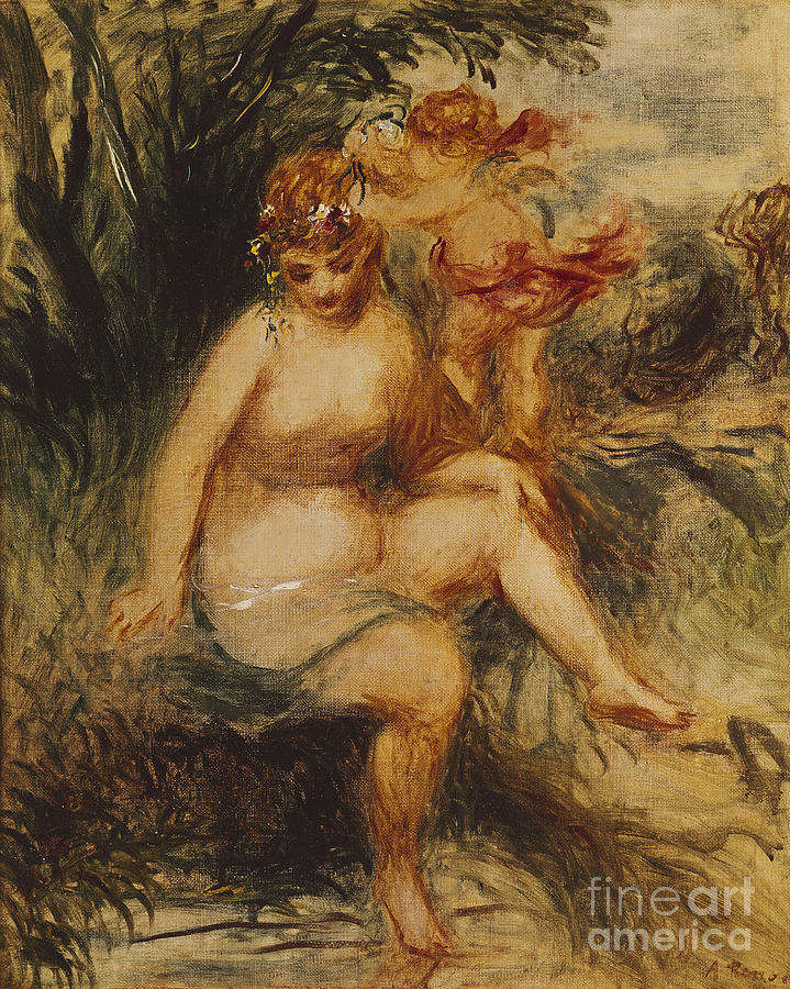 Impressionist; Impressionism; Mythological; Myth; Allegorical; Female; Nude; Roman; Classical; Goddess Painting -  Venus And Love Allegory by Pierre Auguste Renoir