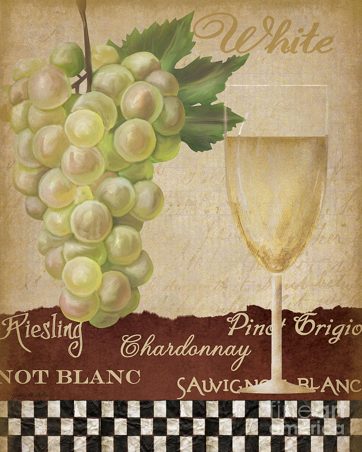 Wine Painting -  White Wine Collage by Grace Pullen