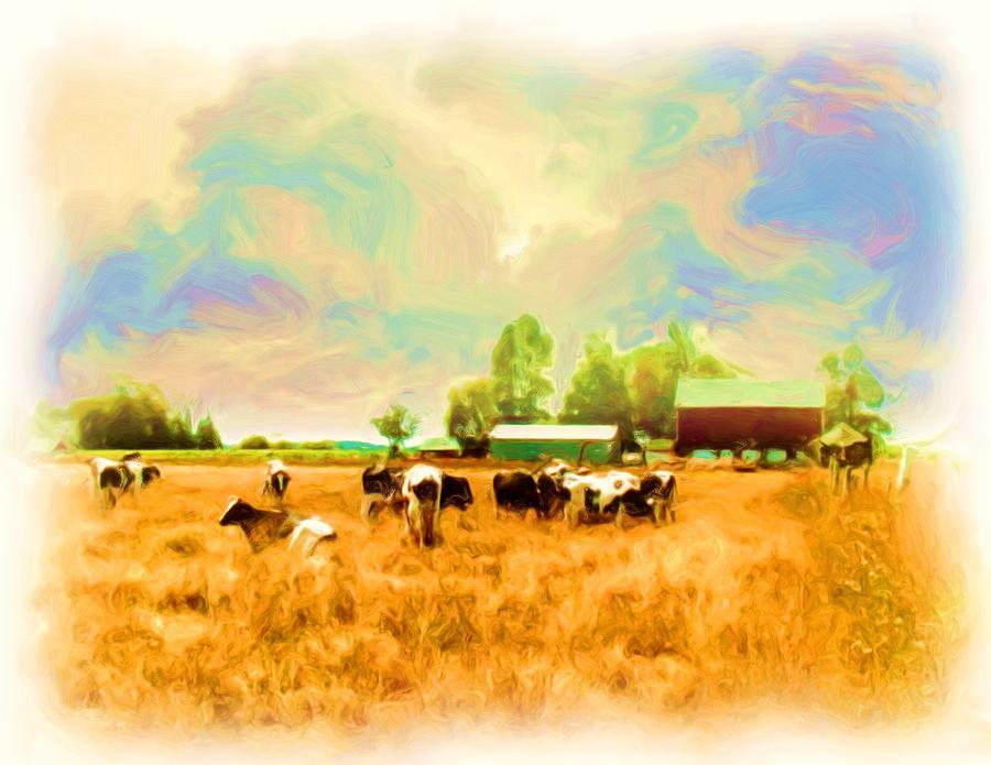 Trees Digital Art - 009 Cows In Back 40 - Oil by Glen W Ferguson