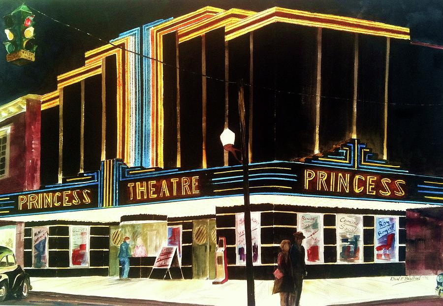 Painting Of Old Theater Painting - 1947 Saturday Night At The Princess by Don F  Bradford
