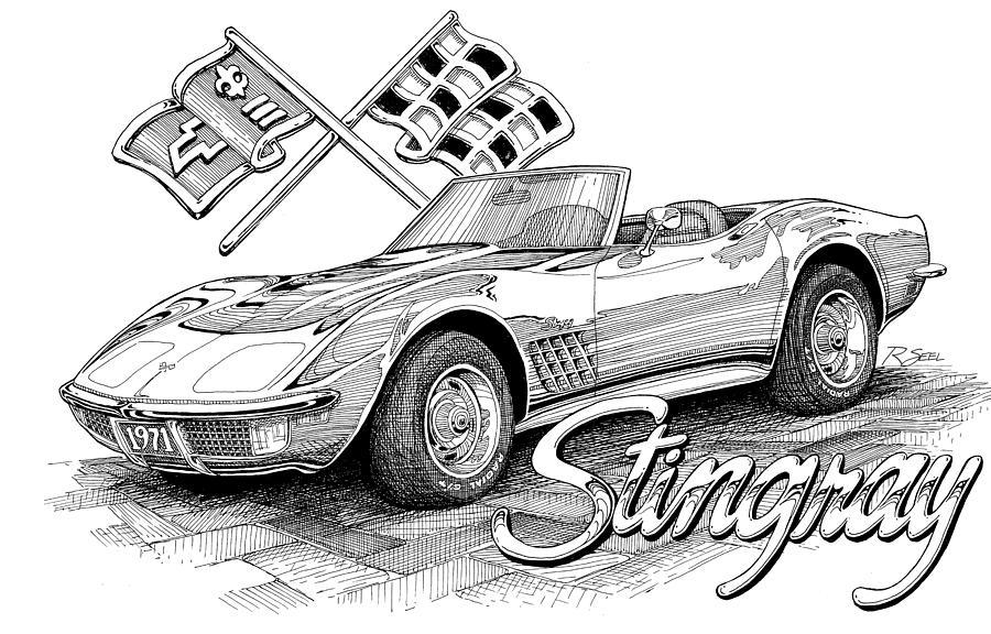 Corvette Drawing - 1972 Corvette by Rod Seel