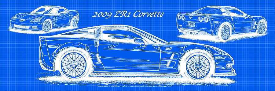 2009 c6 zr1 corvette blueprint digital art by k scott teeters 2009 zr1 corvette digital art 2009 c6 zr1 corvette blueprint by k scott teeters malvernweather Gallery