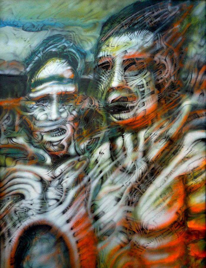 Dark Biomech Biomechanical Surreal Surrealism Abstract Deep Evil Odd Strange Airbrush Hell Pain Bizarre Painting - 2man by David Frantz