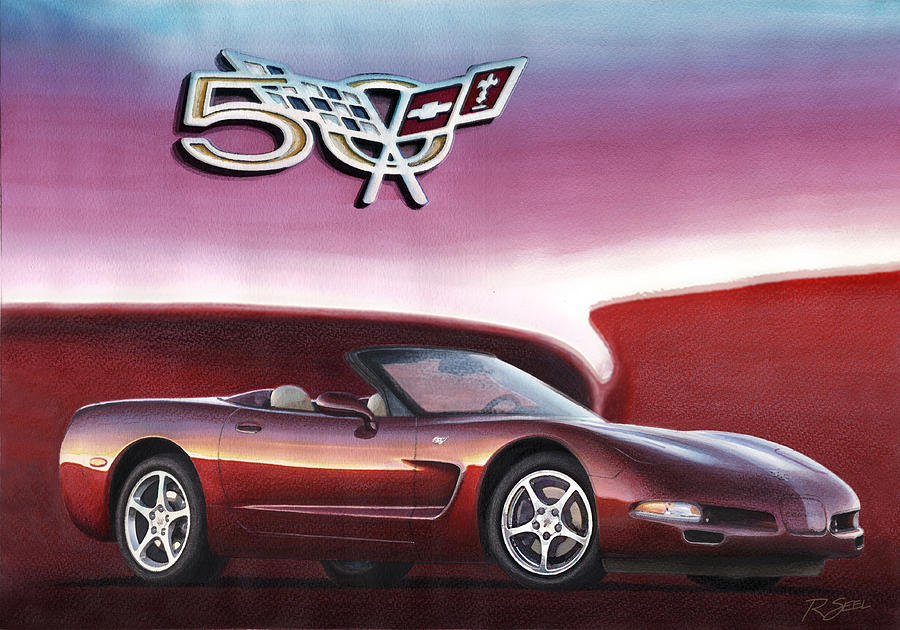 50th Anniversary Painting - 50th Anniversary Corvette by Rod Seel
