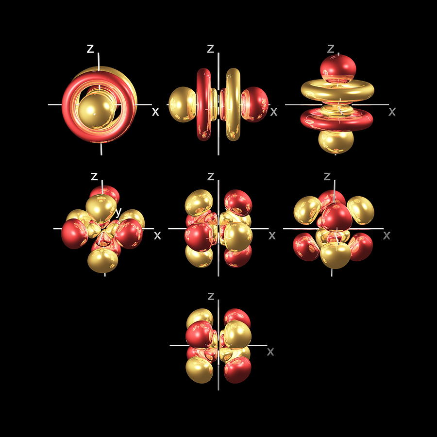 5f Photograph - 5f Electron Orbitals, Cubic Set by Dr Mark J. Winter