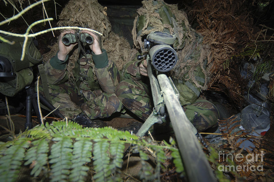 Rifle Photograph - A British Army Sniper Team Dressed by Andrew Chittock