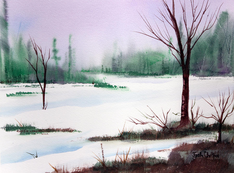Snow Scene Painting - A Cold One. by Josh Chilton