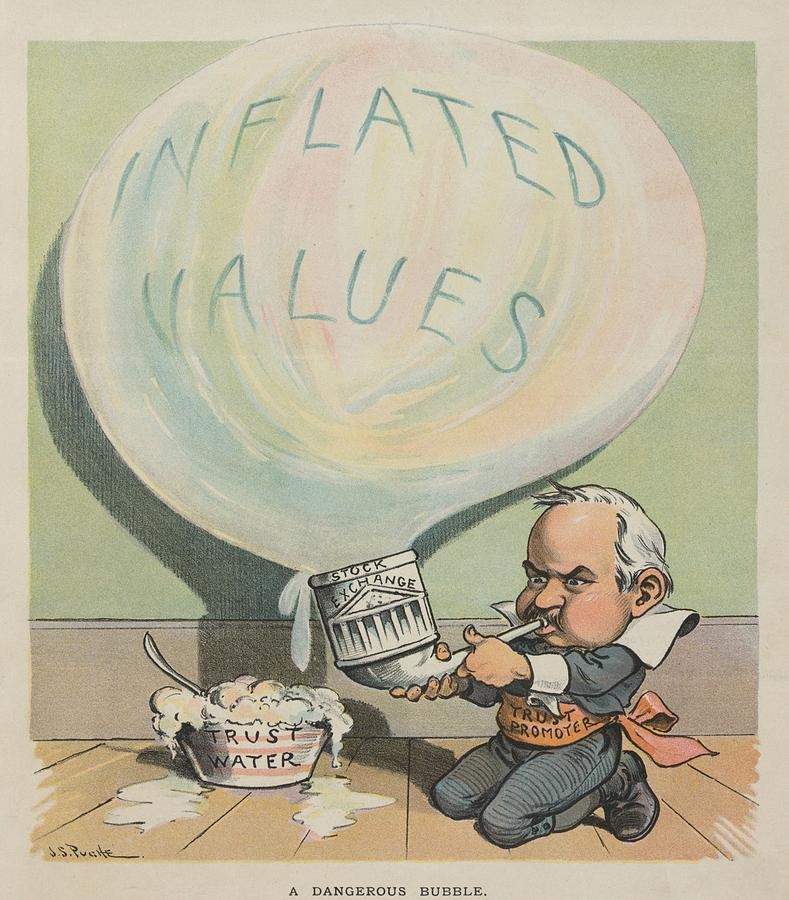 History Photograph - A Dangerous Bubble 1902 Cartoon by Everett