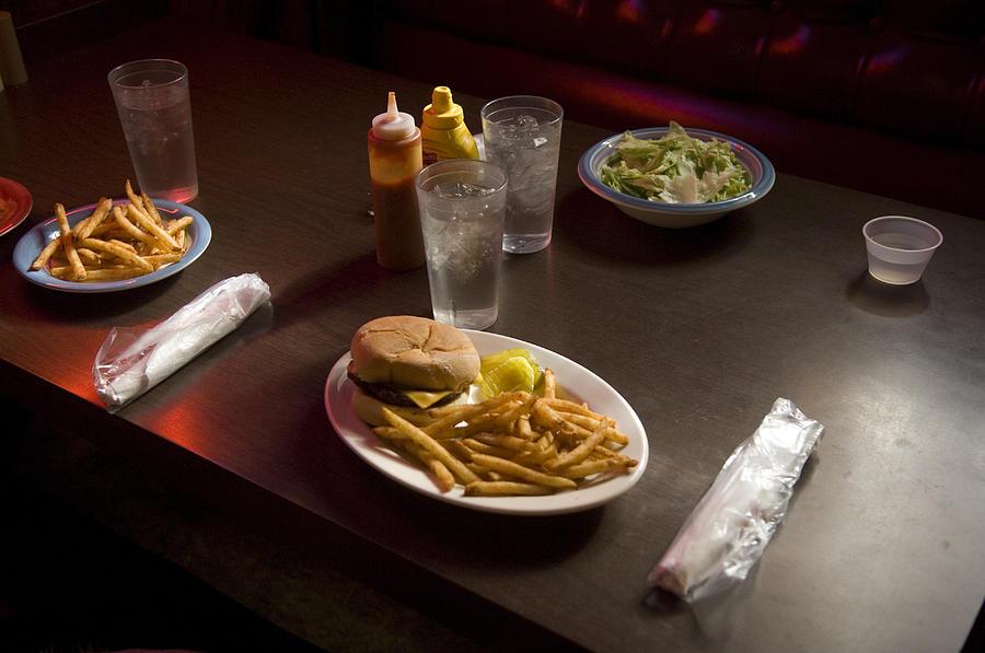 Nobody Photograph - A Hamburger Lunch At A Restaurant by Joel Sartore
