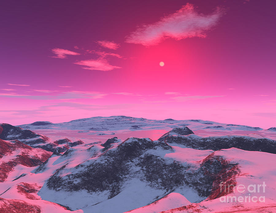 Color Image Digital Art - A Hypothetical Planet Orbiting A Red by Ron Miller