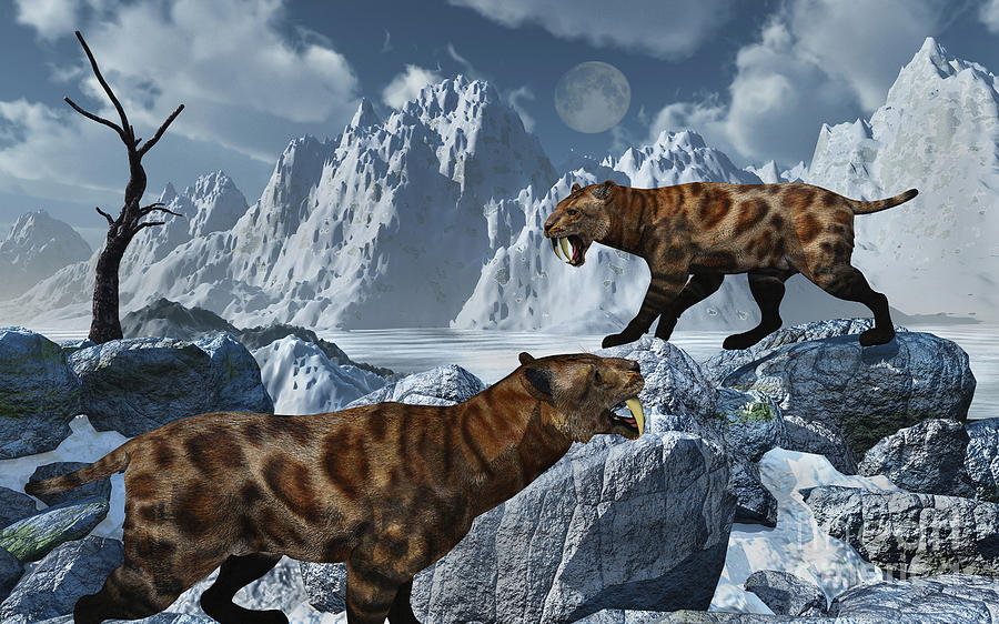 Digitally Generated Image Digital Art - A Pair Of Sabre-toothed Tigers by Mark Stevenson