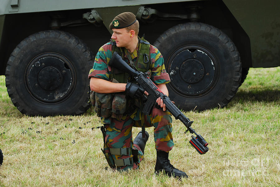 5.56mm Photograph - A Soldier Of An Infantry Unit by Luc De Jaeger