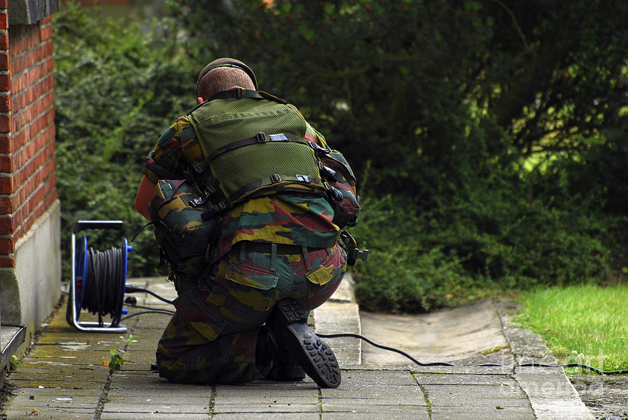 Adults Only Photograph - A Soldier Of The Belgian Army by Luc De Jaeger