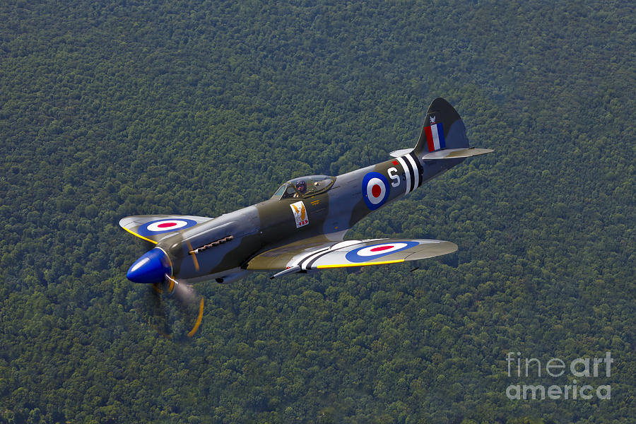 Reconnaissance Photograph - A Supermarine Spitfire Mk-18 In Flight by Scott Germain