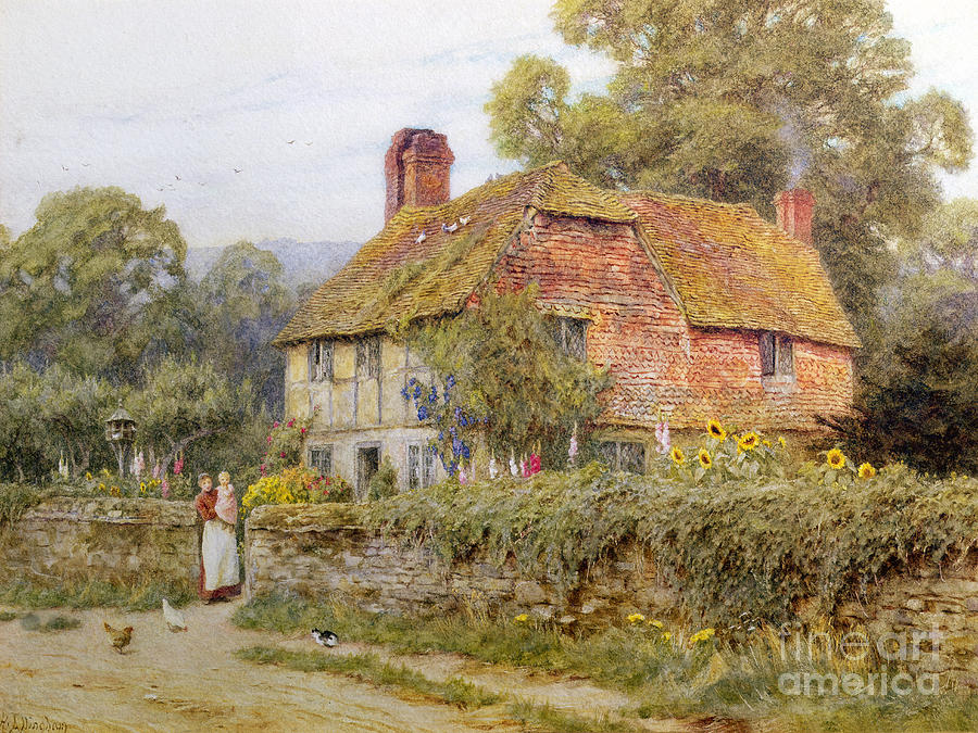 Helen Allingham Painting - A Surrey Cottage by Helen Allingham