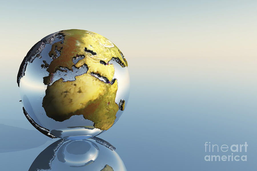 Atlas Digital Art - A World Globe Showing The Continents by Corey Ford