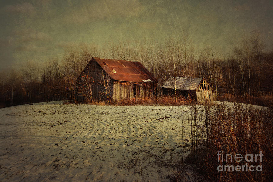 Abandon Photograph - Abandoned Barn After The First Snow by Sandra Cunningham