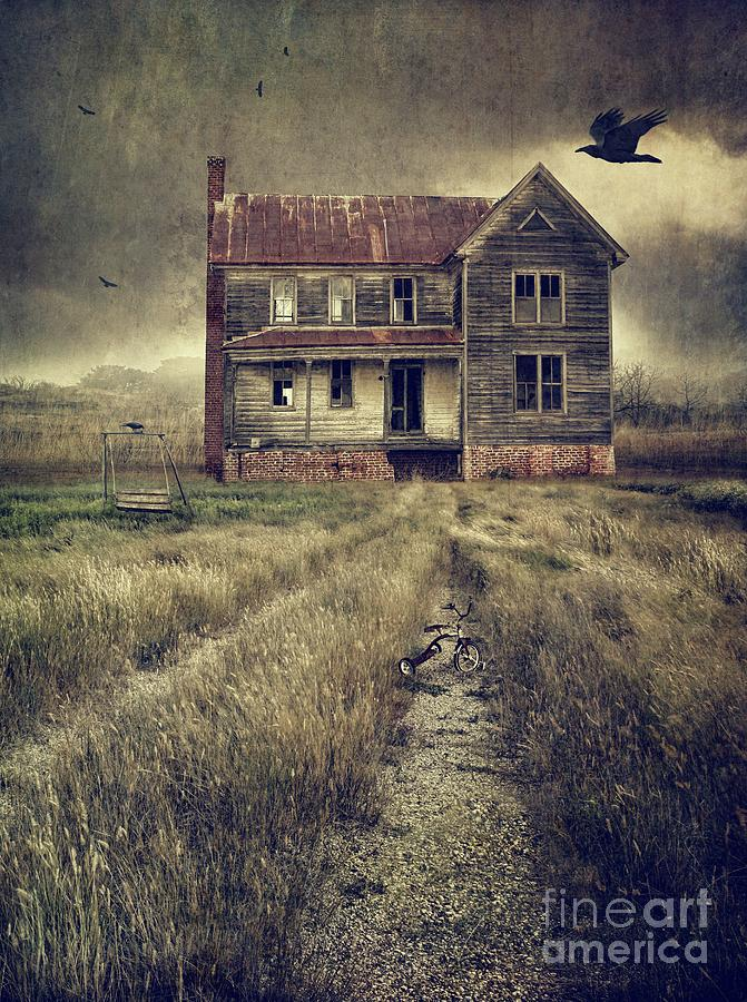 Abandoned Photograph - Abandoned Eerie Farmhouse With Dark Clouds by Sandra Cunningham