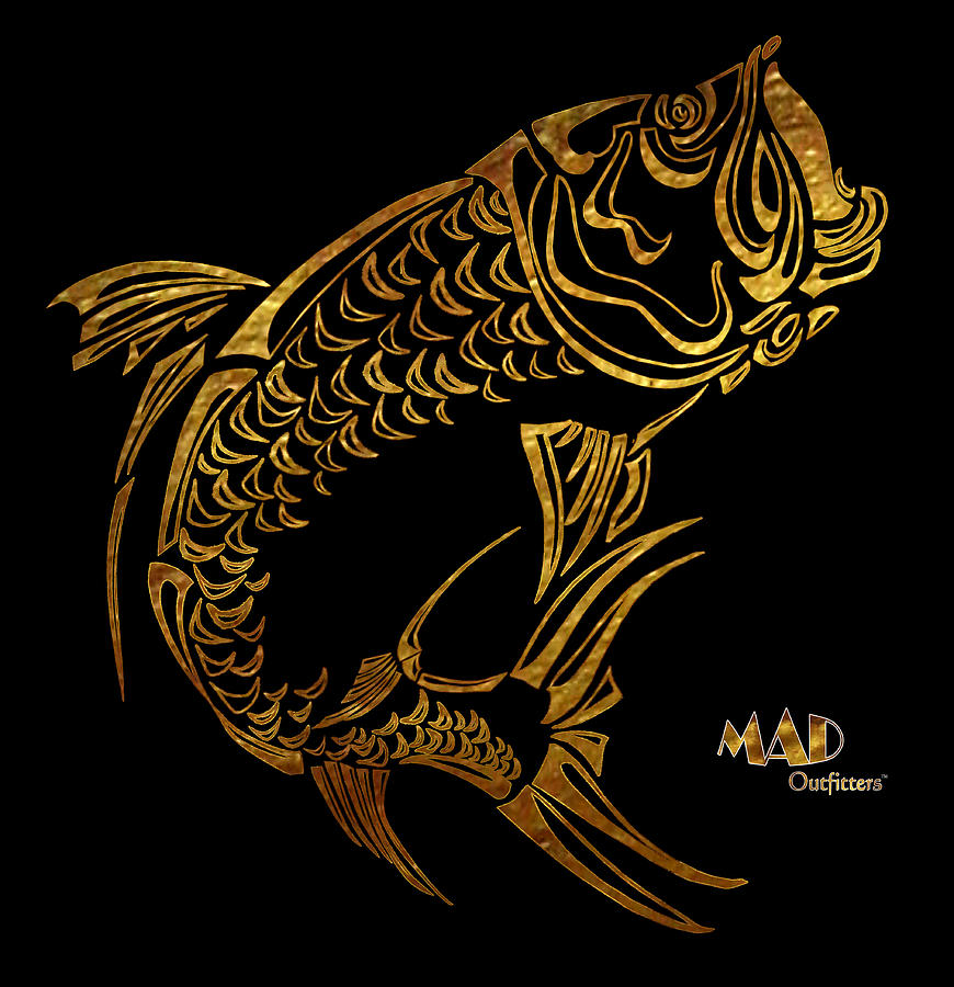Abstract Digital Art - Abstract Tarpon Fishing Mad Outfitters Fish Design by MAD Outfitters