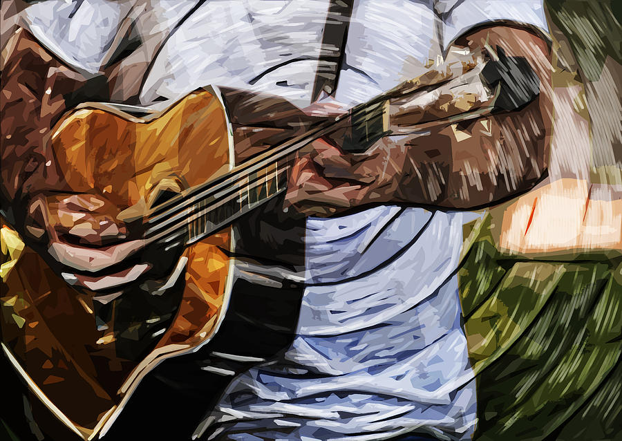 Acoustic Digital Art - Acoustic Blues by Tilly Williams