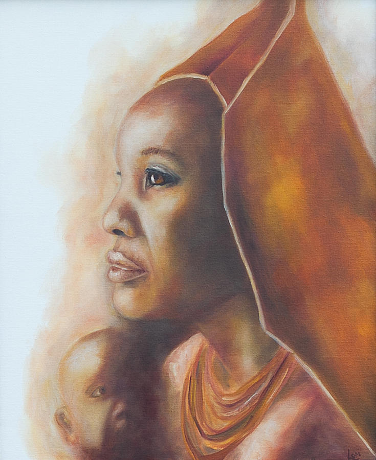 African mother and child painting by lori hill for Arts et decoration abonnement