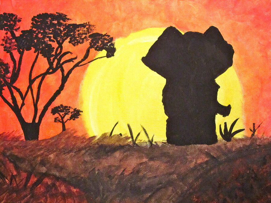 Elephant Painting - African Sunset by Hannah Stedman