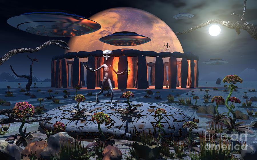 Humanoid Digital Art - Alien Explorers On An Alien World by Mark Stevenson