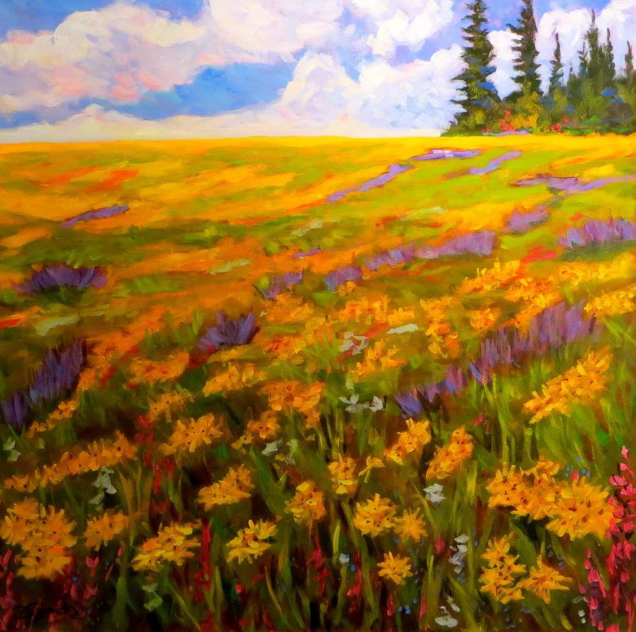 Alpine Meadow Flowers Painting by Deborah Czernecky SCA