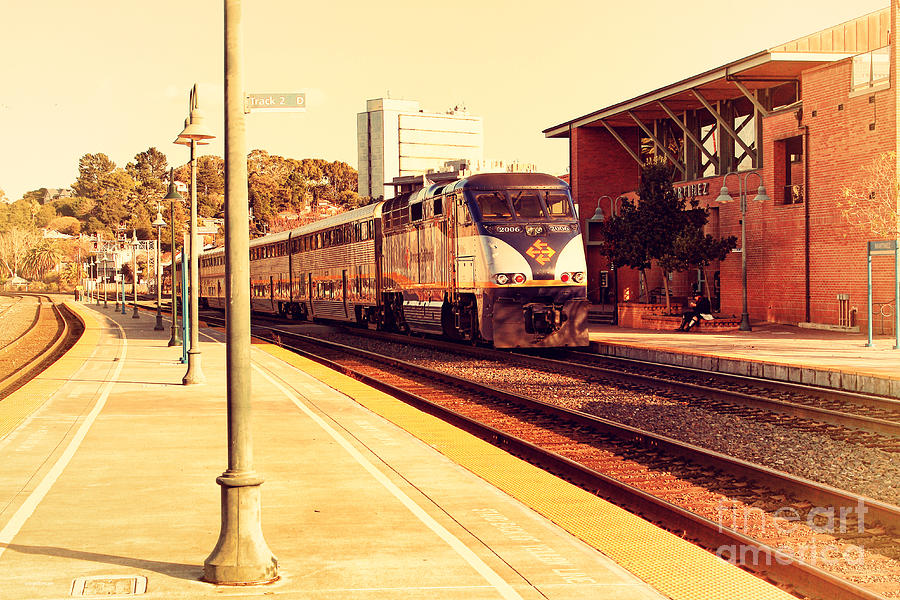 Retro Photograph - Amtrak Train At The Martinez California Train Station . 7d10495 by Wingsdomain Art and Photography