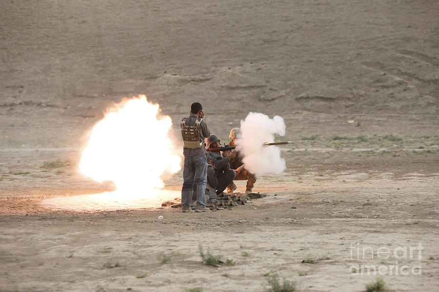 Operation Enduring Freedom Photograph - An Afghan Police Studen Fires by Terry Moore