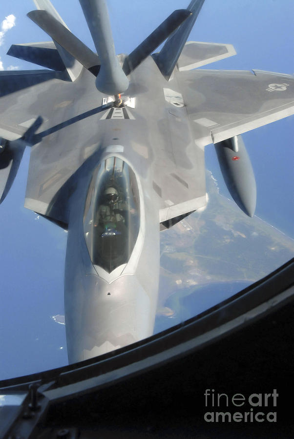 Adults Only Photograph - An F-22 Raptor Receives Fuel by Stocktrek Images